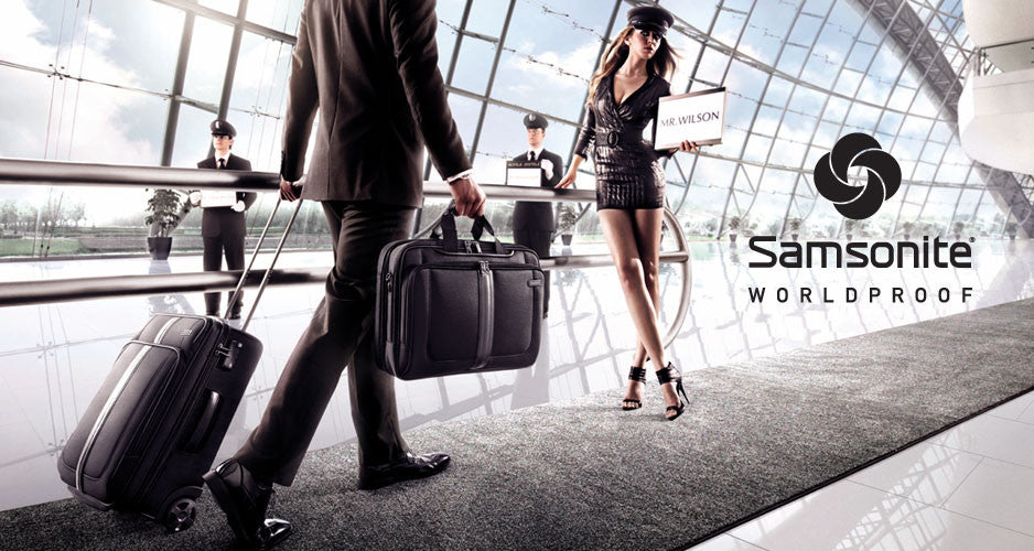 Samsonite luggage and travel accessories.
