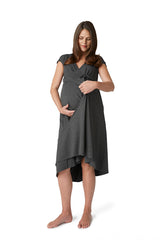 Pretty Pushers cap sleeve transition gown for maternity, birth, and breastfeeding