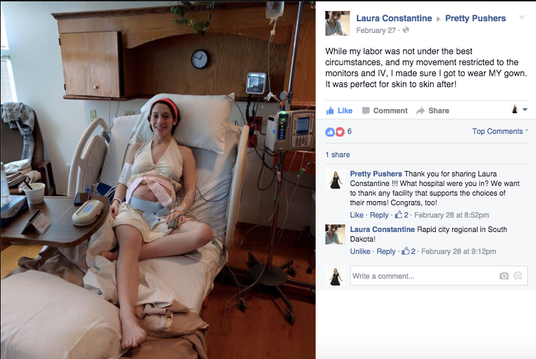 L&D Nurses applaud Pretty Pushers over the unisex hospital gown