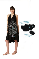 Pretty Pushers labor gown with print by artist Kate Neckel