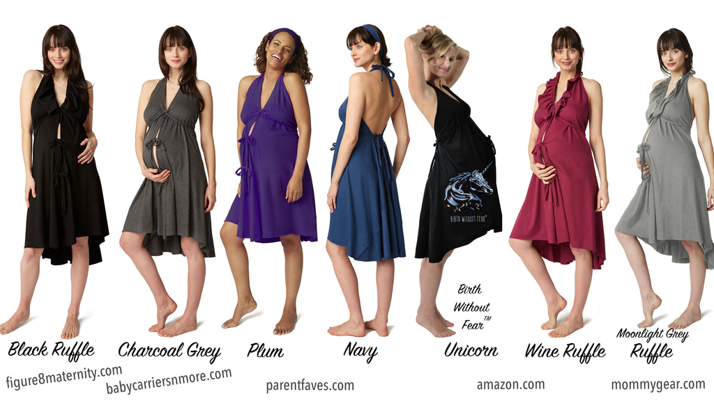 Pretty Pushers Delivery Gown styles exclusive to these fine retailers.