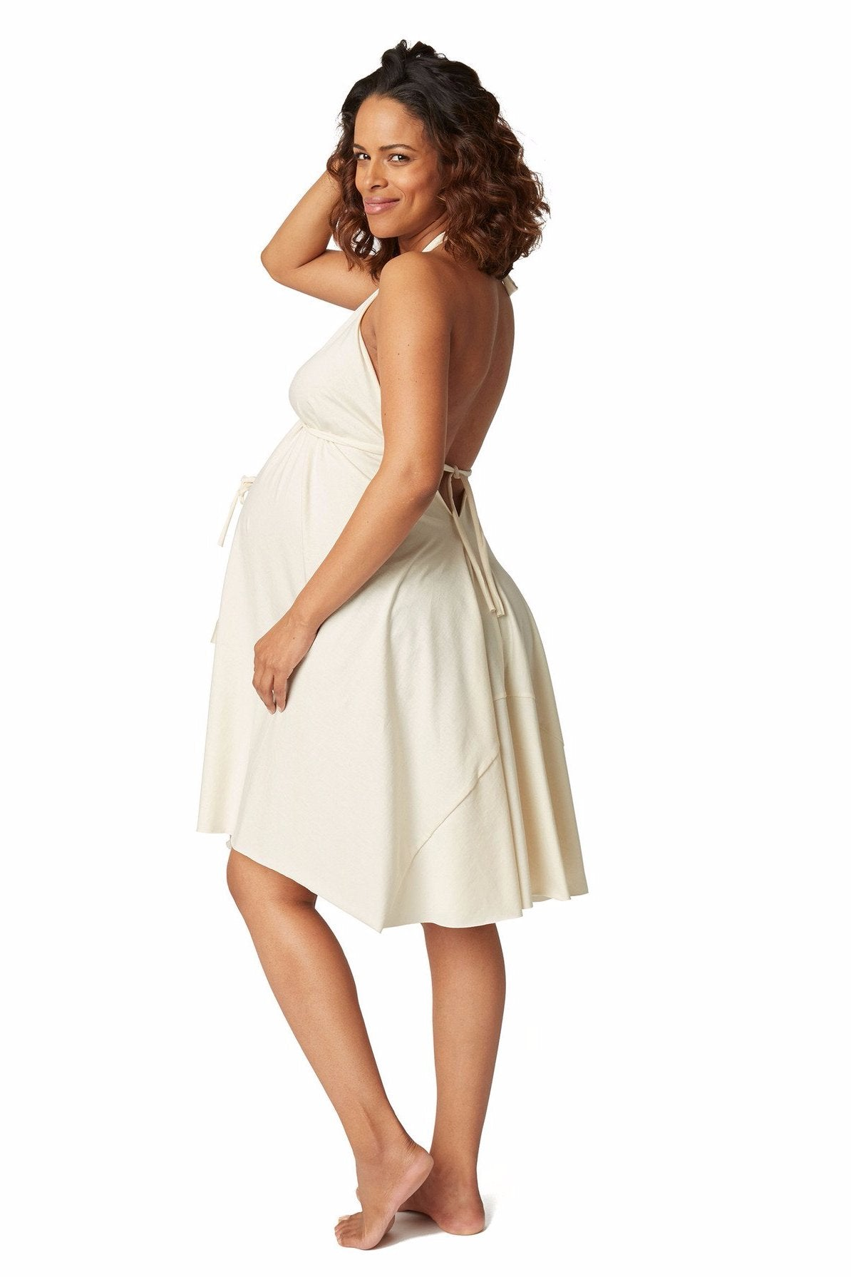Tie halter neck labor gown for easy skin to skin