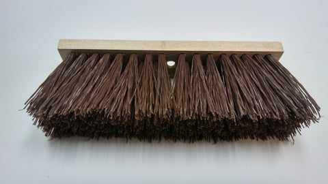 16 in Brown Street Broom Head with 4 Rows of Bristles