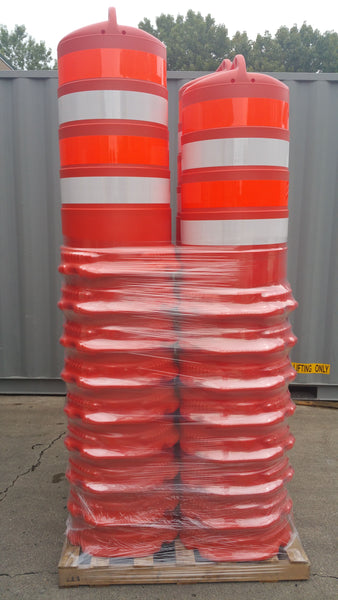 Full Pallet of Orange Traffic Safety Barrels