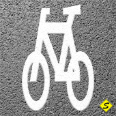 "Bicycle Only Preformed Thermoplastic 5'8"" x 3'4"" (Qty 2)-Preformed ThermoPlastic-Swarco Industries Inc.-90 MIL (WHITE)-Sealcoating.com"