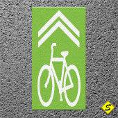 "Contrast Box with White ""Bicycle Shared Lane"" 4' x 10' Preformed Thermoplastic Legend-Performed ThemoPlastic-Swarco Industries-Green-125 MIL-Sealcoating.com"