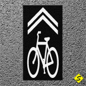 "Contrast Box with White ""Bicycle Shared Lane"" 4' x 10' Preformed Thermoplastic Legend-Performed ThemoPlastic-Swarco Industries-Black-125 MIL-Sealcoating.com"
