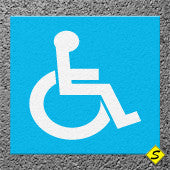 "Handicap Legend (Blue Mat with White Symbol) Preformed Thermoplastic 45"" x 45"" (Qty 2)-Preformed ThermoPlastic-Swarco Industries Inc.-90 MIL-Sealcoating.com"