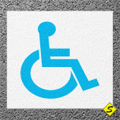 "Handicap Legend (White Mat with Blue Symbol) Preformed Thermoplastic 45"" x 45"" (Qty 2)-Preformed ThermoPlastic-Swarco Industries Inc.-90 MIL-Sealcoating.com"