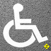 "Handicap Symbol (White) Preformed Thermoplastic 28"" x 24"" (Qty 5)-Preformed ThermoPlastic-Swarco Industries Inc.-90 MIL-Sealcoating.com"