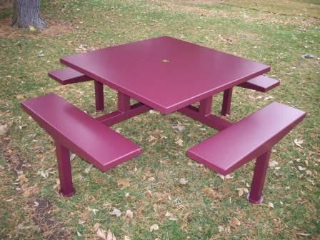 Steel Top 6' Square Picnic Table -The Hickory-Picnic Tables-CH Hanson-Redwood-Sealcoating.com