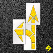 "Pavement Arrow Stencil Straight and Curved Combo Kit-Stencils-CH Hanson-42"" long; Stencil Height: 74""; Stencil Width: 24-Sealcoating.com"