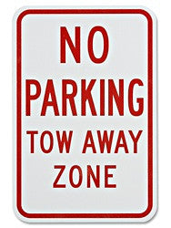 "12"" x 18"" No Parking Tow Away Zone-Traffic & Parking Lot Signs-The Brewer Company-Default-Sealcoating.com"