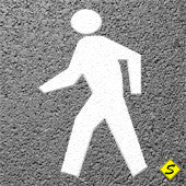"Pedestrian Symbol Preformed ThermoPlastic 6' X 3'2"" (Qty 2)-Preformed ThermoPlastic-Swarco Industries Inc.-90 MIL (WHITE)-Sealcoating.com"