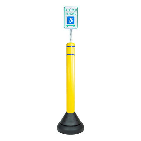 Portable Rubber Bollard Base with Sign Post