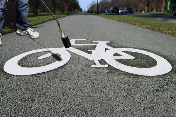 "Bicycle Shared Lane Symbol Preformed ThermoPlastic 9'4"" x 3'4"" (2 Pack)-Preformed ThermoPlastic-Swarco Industries Inc.-90 MIL (WHITE)-Sealcoating.com"
