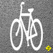 Bicycle Only (MUTCD) Preformed ThermoPlastic 6' x 3' (Qty 2)-Preformed ThermoPlastic-Swarco Industries Inc.-90 MIL (WHITE)-Sealcoating.com