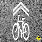 "Bicycle Shared Lane Symbol (MUTCD) Preformed ThermoPlastic 9'4"" x 3'4"" (Qty 2)-Preformed ThermoPlastic-Swarco Industries Inc.-90 MIL (WHITE)-Sealcoating.com"