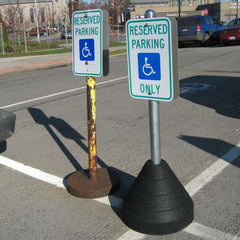Black Rubber Sign Base- 60 lbs-Traffic & Parking Lot Signs-RubberForm-Black Sign Base 60 lbs.-Round Post Hole NO Sign Post Included-Sealcoating.com