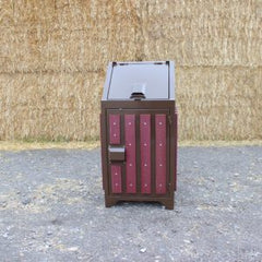 Brown 32 Gallon Trash Receptacle with Red Slats - Bear Proof