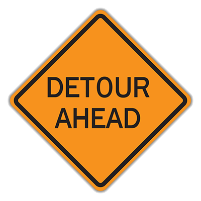 Detour Ahead Traffic Sign