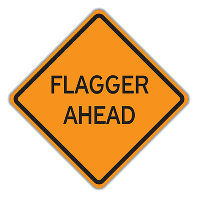 Orange with Black Flagger Ahead Traffic Sign