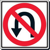 "24"" X 24"" No U-Turn-Traffic & Parking Lot Signs-The Brewer Company-Default-Sealcoating.com"
