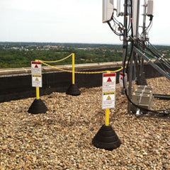 Roof Safety Line with Base, Pole, and Chain