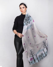 Load image into Gallery viewer, lightweight scarf for women, grey neutral scarves. summer scarf for women, laylart studio scarf, art printed scarf, unique scarf for wife, gift ideas for anniversary