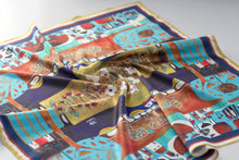 Load image into Gallery viewer, lightweight scarf for women, blue and gold scarves. summer scarf for women, laylart studio scarf, art printed scarf, unique scarf for wife, gift ideas for anniversary, birthday gift for girlfriend