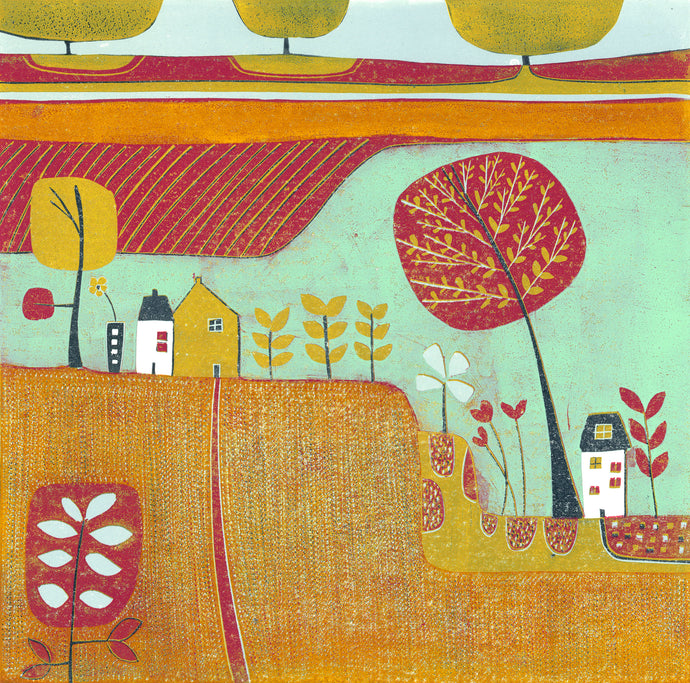 original linocut print, landscape linocut print, linoprint for sale, lino print art, laylart linocut print, colourful wall art, autumn landscape , original artwork, laylart studio prints, colourful home decor, fall scene linocut, orange red print