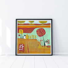Load image into Gallery viewer, original linocut print, landscape linocut print, linoprint for sale, lino print art, laylart linocut print, colourful wall art, autumn landscape , original artwork, laylart studio prints, colourful home decor, fall scene linocut, orange red print