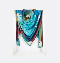 Load image into Gallery viewer, lightweight scarf for women, blue and red scarves. summer scarf for women, laylart studio scarf, art printed scarf, unique scarf for wife, gift ideas for anniversary, birthday gift for girlfriend