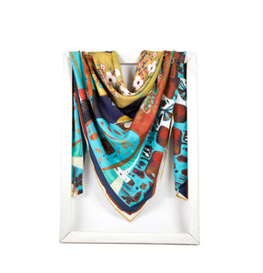 lightweight scarf for women, blue and gold scarves. summer scarf for women, laylart studio scarf, art printed scarf, unique scarf for wife, gift ideas for anniversary, birthday gift for girlfriend