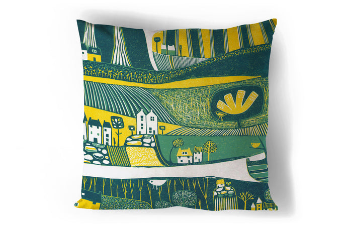 art print pillow throw, cushion cover, pillow cover, decorative cushion cover, decorative pillow, armchair pillow, unique art print pillow, linocut print, yellow green cushion, laylart studio, laylart, interior design, designer cushion, floral whimsy design, colourful home decor, unique fine art pillow
