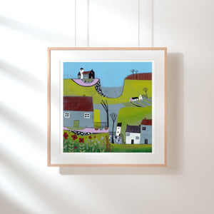 Original Linocut Print | 'The Hills Above the Shore'