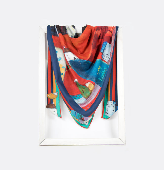 lightweight scarf for women, blue and red scarves. summer scarf for women, laylart studio scarf, art printed scarf, unique scarf for wife, gift ideas for anniversary, birthday gift for girlfriend