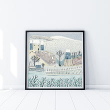 Load image into Gallery viewer, 'Blue Winter' - Original Lino Cut Print