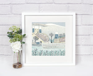 'Blue Winter' - Original Lino Cut Print