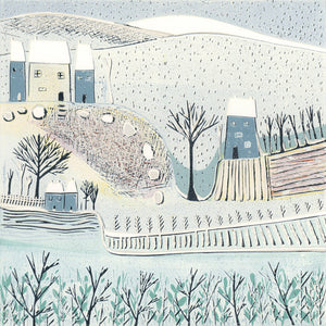 Original Linocut Print | 'Blue Winter'