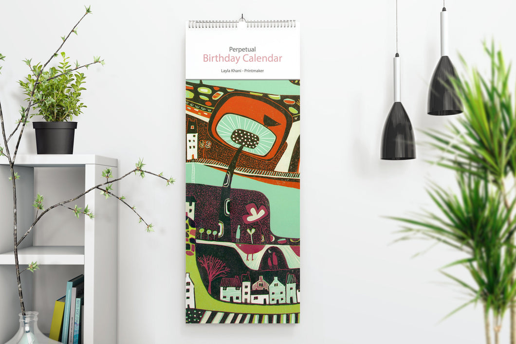 Slim Birthday Calendar - Linocut Prints