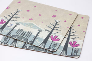 Set of 4 Melamine Placemats in Winter Design, Unique Set of 4 Placemats, Table Mats for Christmas,, Quirky Designer Coasters and Mats