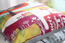 Load image into Gallery viewer, art print pillow throw, cushion cover, pillow cover, decorative cushion cover, decorative pillow, armchair pillow, unique art print pillow, painting, fine art print cushion, colourful home decor,  colourful cushion, laylart studio, laylart, interior design, designer cushion, whimsy Landscape design, colourful home decor, unique fine art pillow
