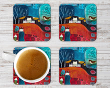 Load image into Gallery viewer, Unique Decorative Coasters, Set of 4 Coasters, Art Print Coaster Set in Red, Stylish Colourful Table Decor, Christmas Gift Ideas for Hostess