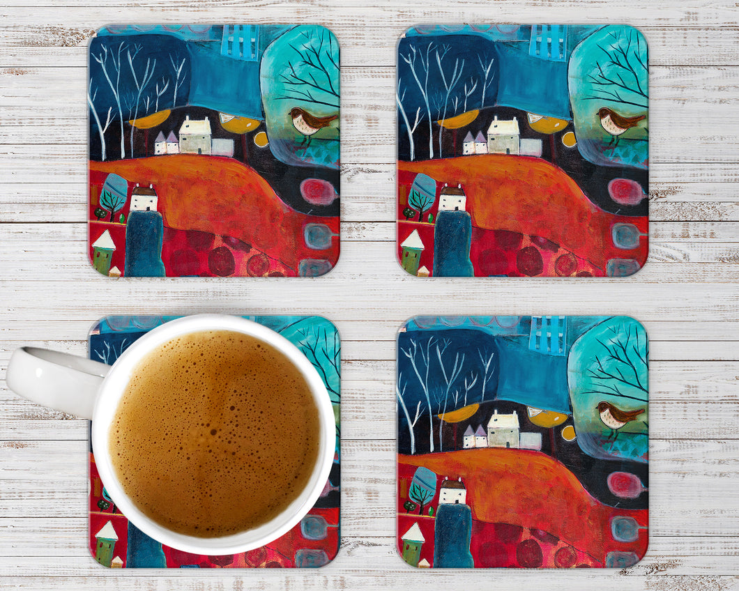 Unique Decorative Coasters, Set of 4 Coasters, Art Print Coaster Set in Red, Stylish Colourful Table Decor, Christmas Gift Ideas for Hostess