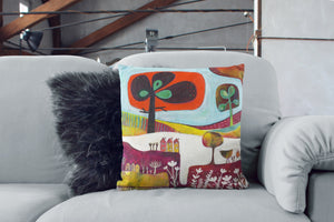 art print pillow throw, cushion cover, pillow cover, decorative cushion cover, decorative pillow, armchair pillow, unique art print pillow, painting, fine art print cushion, colourful home decor,  colourful cushion, laylart studio, laylart, interior design, designer cushion, whimsy Landscape design, colourful home decor, unique fine art pillow