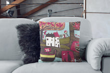 Load image into Gallery viewer, art print pillow throw, cushion cover, pillow cover, decorative cushion cover, red decorative pillow, armchair pillow, unique art print pillow, linocut fine art print cushion, colourful home decor,  colourful cushion, laylart studio, laylart, interior design, designer cushion, whimsy Landscape design, colourful home decor, unique fine art pillow