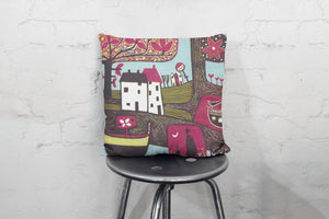 art print pillow throw, cushion cover, pillow cover, decorative cushion cover, red decorative pillow, armchair pillow, unique art print pillow, linocut fine art print cushion, colourful home decor,  colourful cushion, laylart studio, laylart, interior design, designer cushion, whimsy Landscape design, colourful home decor, unique fine art pillow