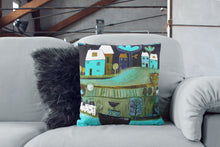 Load image into Gallery viewer, art print pillow throw, cushion cover, pillow cover, decorative cushion cover, decorative pillow, armchair pillow, unique art print pillow, painting print, Teal Navy blue cushion, laylart studio, laylart, interior design, designer cushion, floral whimsy design, colourful home decor, unique fine art pillow