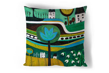 Load image into Gallery viewer, art print pillow throw, cushion cover, pillow cover, decorative cushion cover, decorative pillow, armchair pillow, unique art print pillow, linocut print, yellow green cushion, laylart studio, laylart, interior design, designer cushion, floral whimsy design, colourful home decor, unique fine art pillow